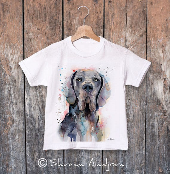 Blue Great Dane watercolor kids T-shirt, Boys' Clothing,Girls' Clothing, ring spun Cotton 100%, watercolor print T-shirt,T shirt art