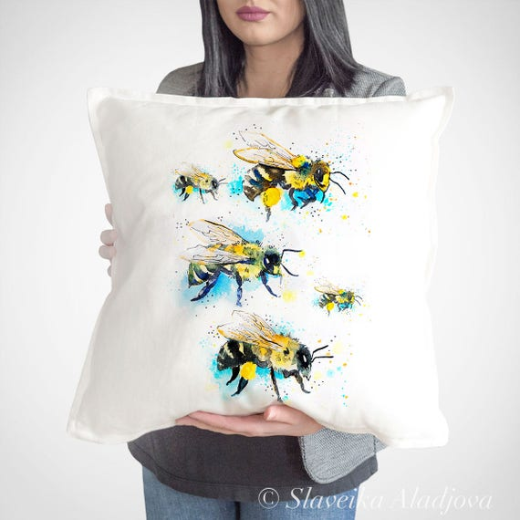 Bees 2 throw pillow cover by Slaveika Aladjova, cushion cover, Decorative Pillow Cover, Animal Art, Watercolor pillow, Christmas gift