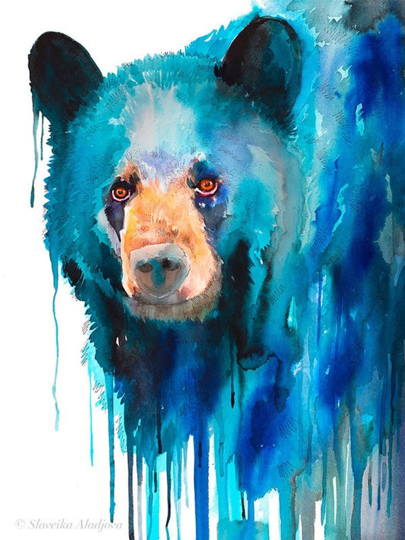 Original Watercolour Painting- Blue American black bear art, animal, illustration, animal watercolor, animals paintings, animals, portrait,