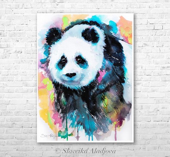 Panda watercolor painting print by Slaveika Aladjova, art, animal, illustration, home decor, Nursery, gift, Wildlife, wall art