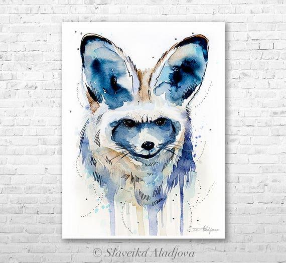 Bat-eared fox watercolor painting print by Slaveika Aladjova, art, animal, illustration, home decor, Nursery, gift, Wildlife, wall art