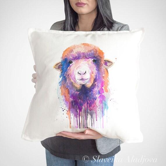 Sheep Cushion Cover, Sheep throw pillow, Decorative Cushion Cover, Farm animals lover gift idea, Watercolor pillow, Cute sheep print