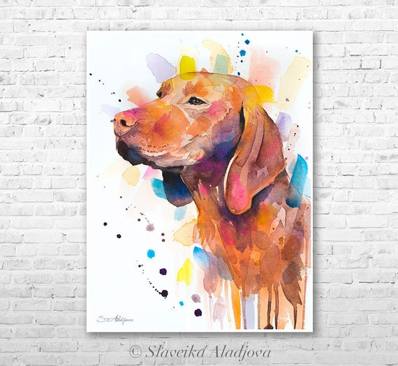 Original Watercolour Painting- Vizsla art, animal, illustration, animal watercolor, animals paintings, animals, portrait,