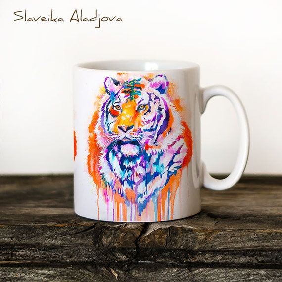 Tiger 2 Mug Watercolor Ceramic Mug Unique Gift Coffee Mug Animal Mug Tea Cup Art Illustration Cool Kitchen Art Printed mug