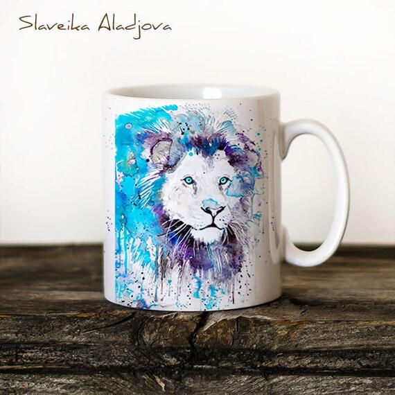 Lion 2 Mug Watercolor Ceramic Mug Unique Gift Coffee Mug Animal Mug Tea Cup Art Illustration Cool Kitchen Art Printed mug