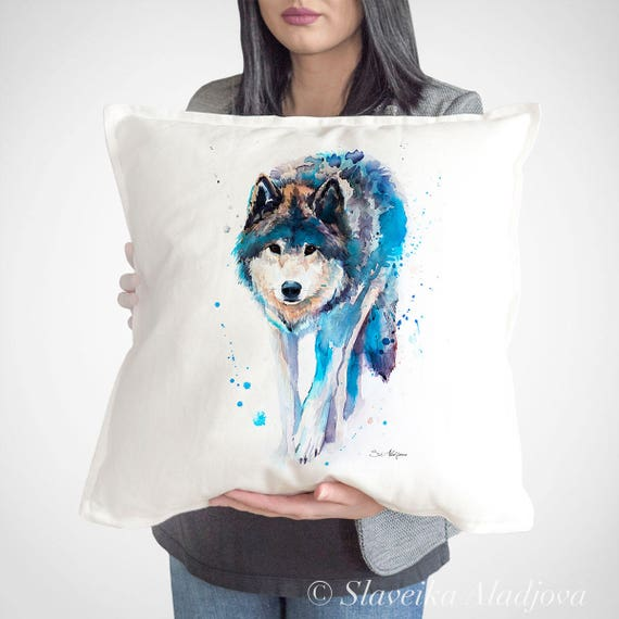 Wolf throw pillow cover by Slaveika Aladjova, cushion cover, Decorative Pillow Cover, Animal Art, Watercolor pillow, Christmas gift