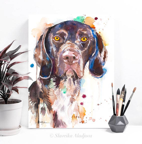 German Shorthaired Pointer watercolor painting print by Slaveika Aladjova, animal, illustration, home decor, Nursery, Contemporary, dog art