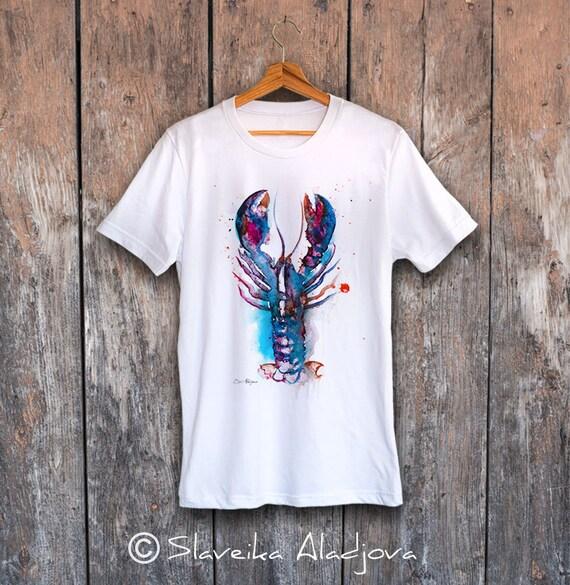 Lobster T-shirt, Unisex T-shirt, ring spun Cotton 100%, watercolor print T-shirt, T shirt art, T shirt animal, XS, S, M, L, XL, XXL