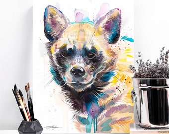 Striped hyena watercolor painting print by Slaveika Aladjova, art, animal, illustration, bird, home decor, Nursery, gift, African, Wildlife