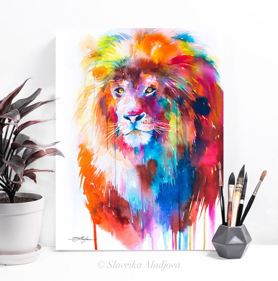 Lion watercolor painting print by Slaveika Aladjova, art, animal, illustration, home decor, Nursery, African, Wildlife, Contemporary