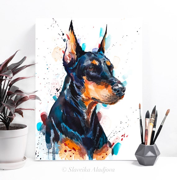 Doberman watercolor painting print by Slaveika Aladjova, animal, illustration, home decor, Nursery, Contemporary, dog art, wall art