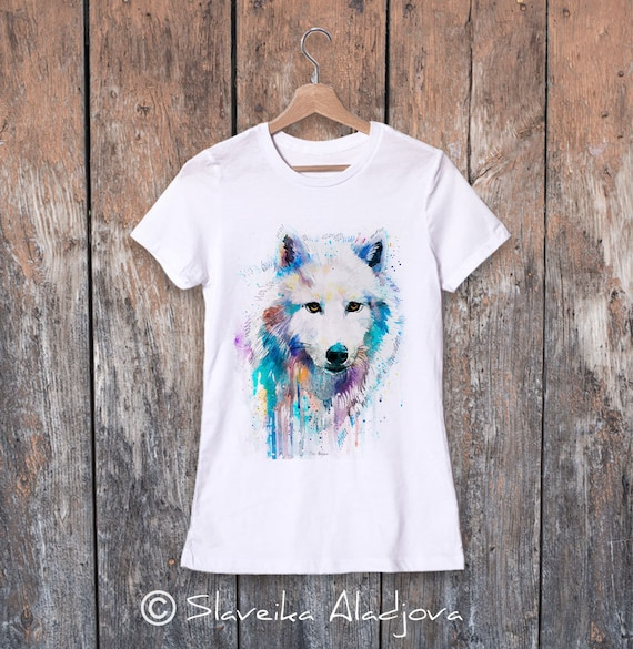 Arctic Wolf watercolor ladies' T-shirt, women's tees, Teen Clothing, Girls' Clothing, ring spun Cotton 100%, watercolor print