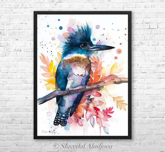 Belted kingfisher watercolor framed canvas by Slaveika Aladjova, Limited edition, art, animal watercolor, animal illustration,bird art