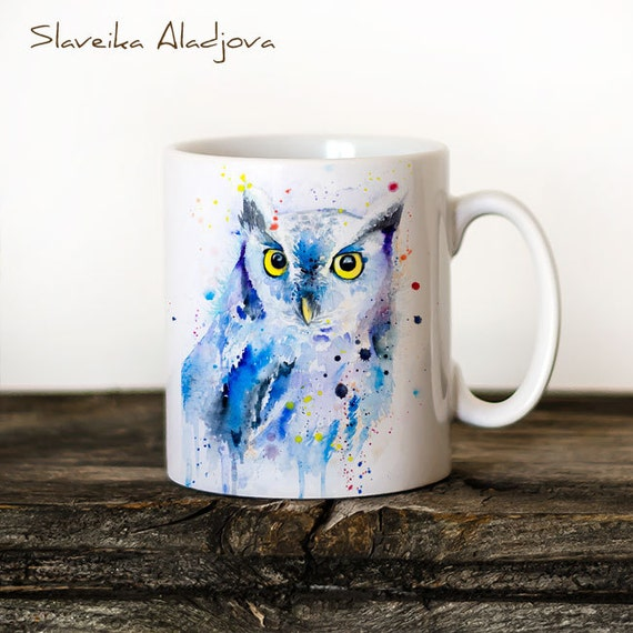 Screech owl Mug Watercolor Ceramic Mug Unique Gift Coffee Mug Animal Mug Tea Cup Art Illustration Cool Kitchen Art Printed mug Bird