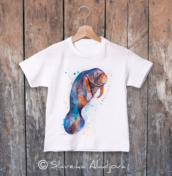 Manatee watercolor kids T-shirt, Boys' Clothing, Girls' Clothing, ring spun Cotton 100%, watercolor print T-shirt,T shirt art