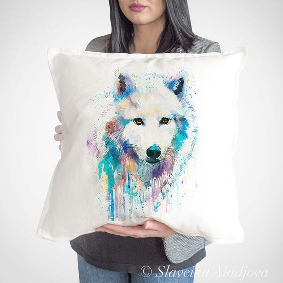 Arctic Wolf throw pillow cover by Slaveika Aladjova, cushion cover, Decorative Pillow Cover, Animal Art, Watercolor pillow, Christmas gift