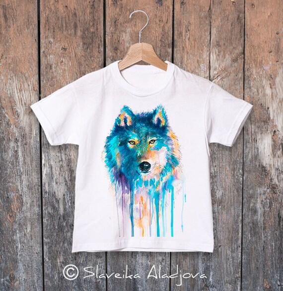 Wolf T-shirt, cute watercolor kids T-shirt, Boys' Clothing, Girls' Clothing, ring spun Cotton 100%, watercolor print T-shirt, T shirt art