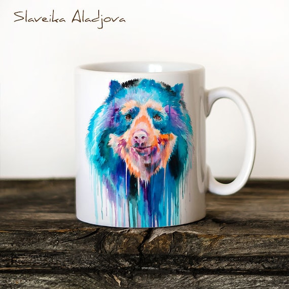Spectacled Bear Mug Watercolor Ceramic Mug Unique Gift Coffee Mug Animal Mug Tea Cup Art Illustration Cool Kitchen Art Printed mug