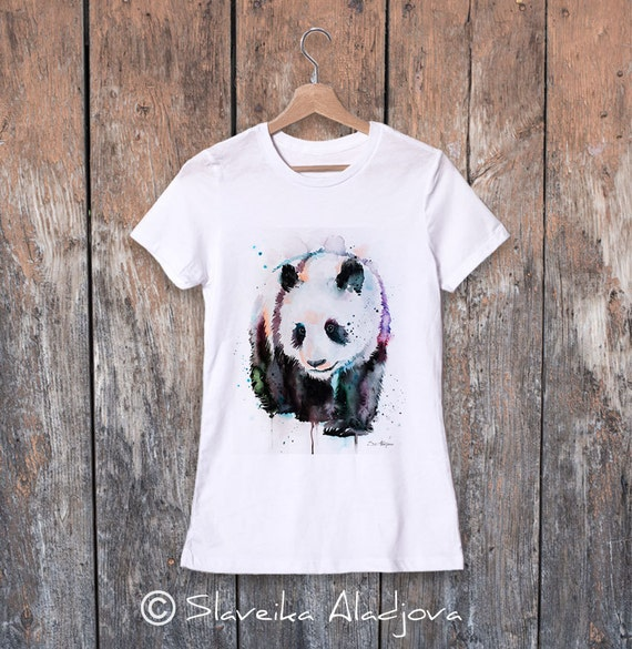 Panda watercolor ladies' T-shirt, women's tees, Teen Clothing, Girls' Clothing, ring spun Cotton 100%, watercolor print T-shirt,art