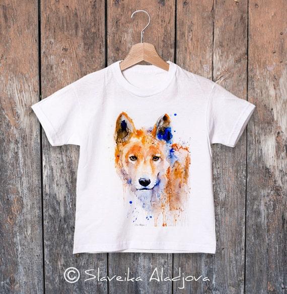 Dingo watercolor kids T-shirt, Boys' Clothing, Girls' Clothing, ring spun Cotton 100%, watercolor print T-shirt,T shirt art