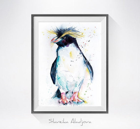 Original Watercolour Painting- Rockhopper penguin art, animal illustration, animal watercolor, animals paintings, animals, portrait,