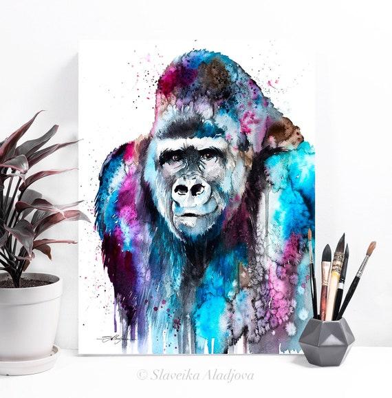 Gorilla watercolor painting print by Slaveika Aladjova, art, animal, illustration, home decor, Nursery, Wildlife, monkey, primate, gift
