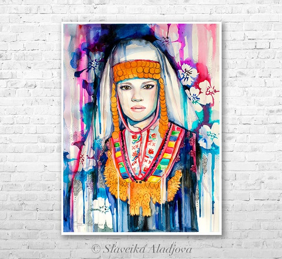 Fashion Illustration 2 watercolor painting print by Slaveika Aladjova, Woman art, Girl Illustration, Bulgarian national costume, wall art
