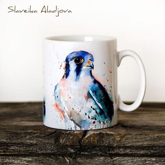 American Kestrel Mug Watercolor Ceramic Mug Unique Gift Coffee Mug Animal Mug Tea Cup Art Illustration Cool Kitchen Art Printed mug
