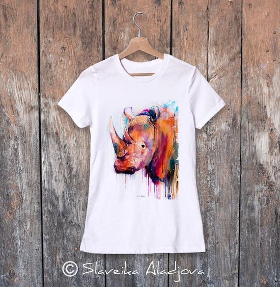 Rhino watercolor ladies' T-shirt, women's tees, Teen Clothing, Girls' Clothing, ring spun Cotton 100%, watercolor print T-shirt, art