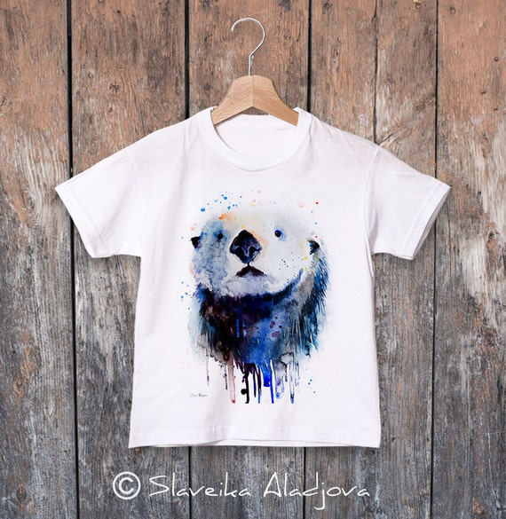 Sea Otter watercolor kids T-shirt, Boys' Clothing, Girls' Clothing, ring spun Cotton 100%, watercolor print T-shirt,T shirt art