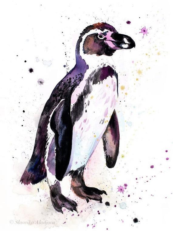 Original Watercolour Painting- Humboldt penguin art, animal, illustration, animal watercolor, animals paintings, animals, portrait,