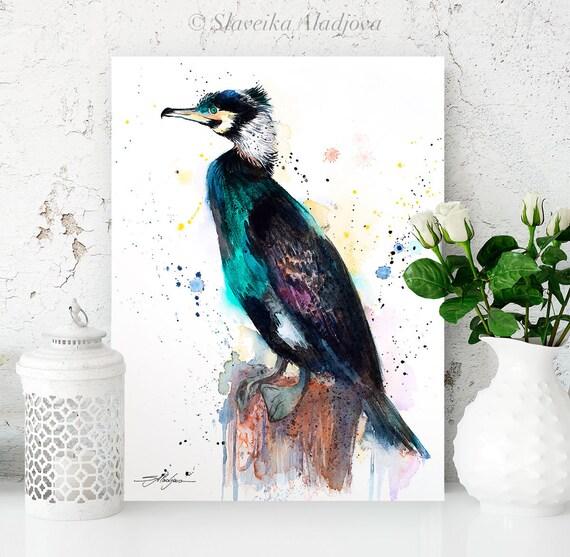 Great cormorant watercolor painting print by Slaveika Aladjova, art, animal, illustration, bird, home decor, wall art,Wildlife, Contemporary