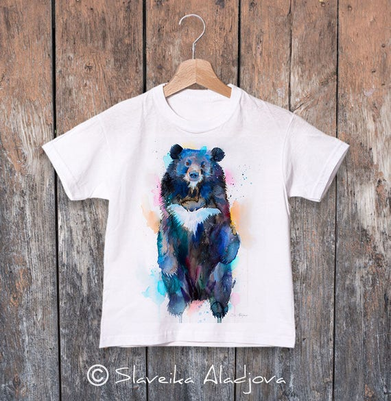 Asian black bear, Moon Bear watercolor kids T-shirt, Boys' Clothing, Girls' Clothing, ring spun Cotton 100%, watercolor print T-shirt,