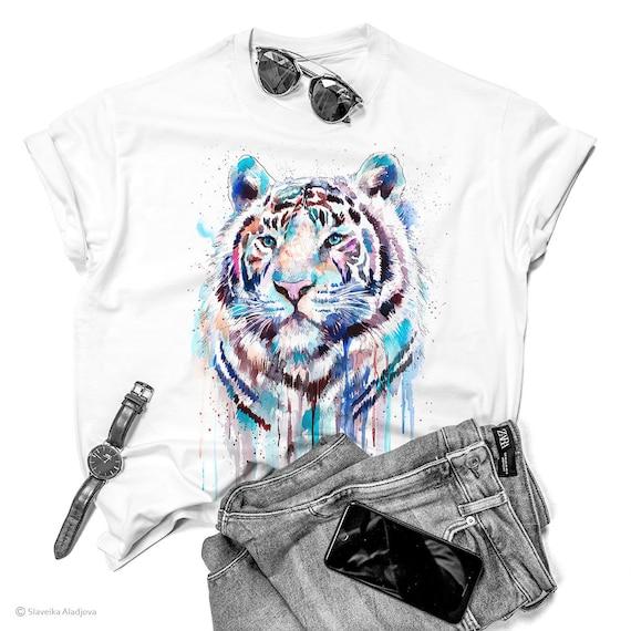 White Tiger watercolor ladies' T-shirt, women's tees, Teen Clothing, Girls' Clothing, ring spun Cotton 100%, watercolor print