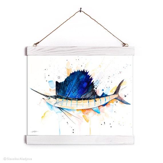 Atlantic sailfish Watercolor Painting Framed, Wall Hanging print, Animal, Home Decor, Wall Art, Illustration, Ready to Hang, Nursery, Print