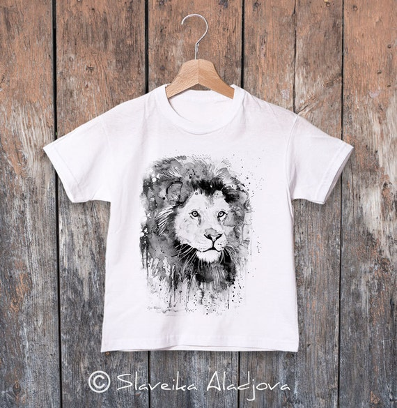 Lion watercolor kids T-shirt, Boys' Clothing, Girls' Clothing, ring spun Cotton 100%, watercolor print T-shirt, T shirt art