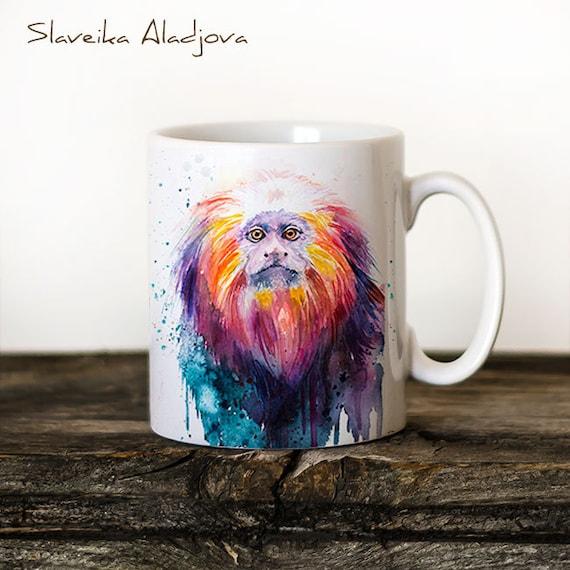 Golden lion tamarin Mug Watercolor Ceramic Mug Unique Gift Coffee Mug Animal Mug Tea Cup Art Illustration Cool Kitchen Art Printed