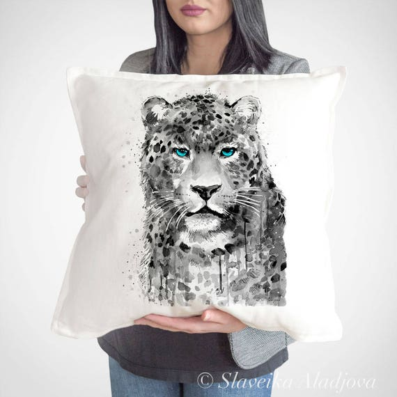 Leopard Jaguar throw pillow cover by Slaveika Aladjova, cushion cover, Decorative Pillow Cover, Animal Art, Watercolor pillow,Christmas gift