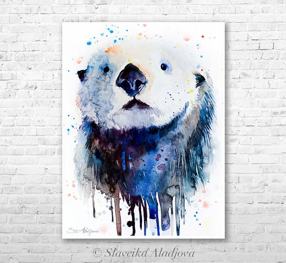 Sea Otter 2 watercolor painting print by Slaveika Aladjova, art, animal, illustration, home decor, Nursery, gift, Wildlife, wall art
