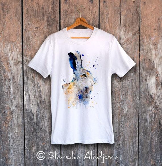 Hare Rabbit T-shirt, Unisex T-shirt, ring spun Cotton 100%, watercolor T-shirt, T shirt art, T shirt animal, XS, S, M, L, XL, XXL