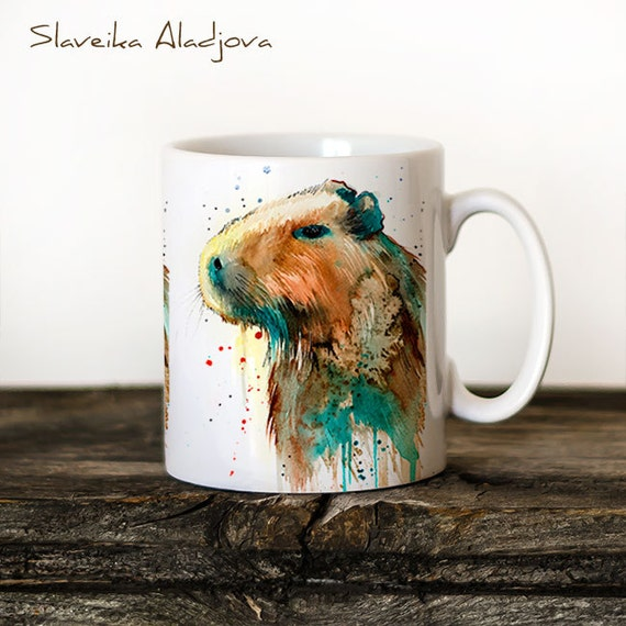 Capybara Mug Watercolor Ceramic Mug Unique Gift Coffee Mug Animal Mug Tea Cup Art Illustration Cool Kitchen Art Printed mug