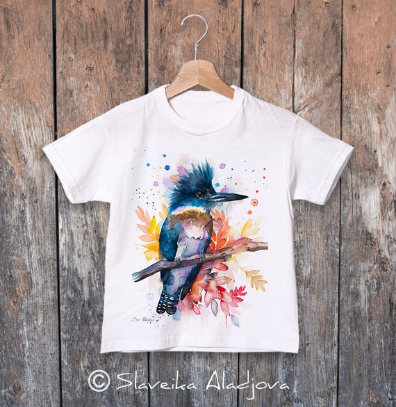 Belted kingfisher watercolor kids T-shirt, Boys' Clothing, Girls' Clothing, ring spun Cotton 100%, watercolor print T-shirt, T shirt art
