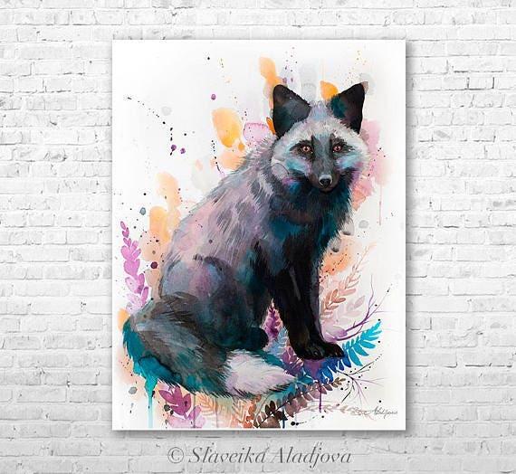 Original Watercolour Painting- Silver fox art, animal, illustration, animal watercolor, animals paintings, animals, portrait,