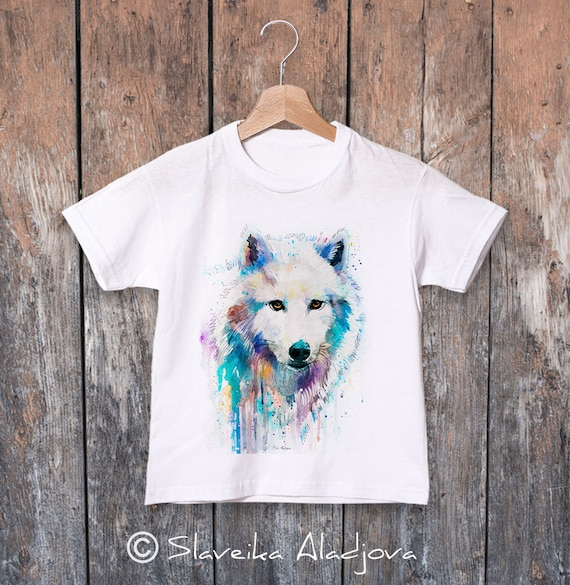 Arctic Wolf watercolor kids T-shirt, Boys' Clothing, Girls' Clothing, ring spun Cotton 100%, watercolor print T-shirt,T shirt art