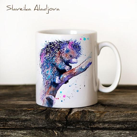 Prehensile-tailed porcupine Mug Watercolor Ceramic Mug Unique Gift Coffee Mug Animal Mug Tea Cup Art Illustration Cool Kitchen Art Printed
