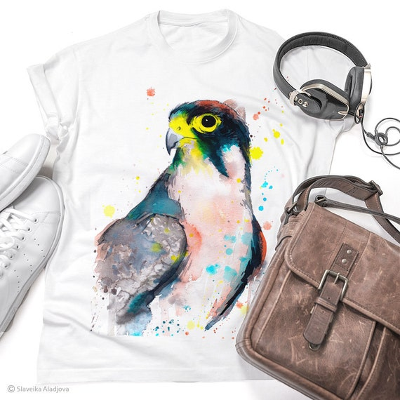Lanner falcon T-shirt, Watercolor Bird Art, Bird of Prey, Graphic Tees, Unisex, Men, Women, Kids models, Cotton Tee, XS, S, M, L, XL, XXL