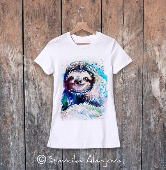 Sloth watercolor ladies' T-shirt, women's tees, Teen Clothing, Girls' Clothing, ring spun Cotton 100%, watercolor print