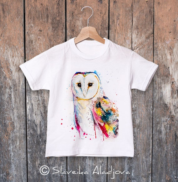 Barn owl watercolor kids T-shirt, Boys' Clothing, Girls' Clothing, ring spun Cotton 100%, watercolor print T-shirt, T shirt art