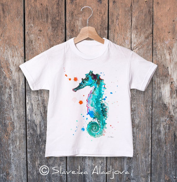 Seahorse watercolor kids T-shirt, Boys' Clothing, Girls' Clothing, ring spun Cotton 100%, watercolor print T-shirt, T shirt art