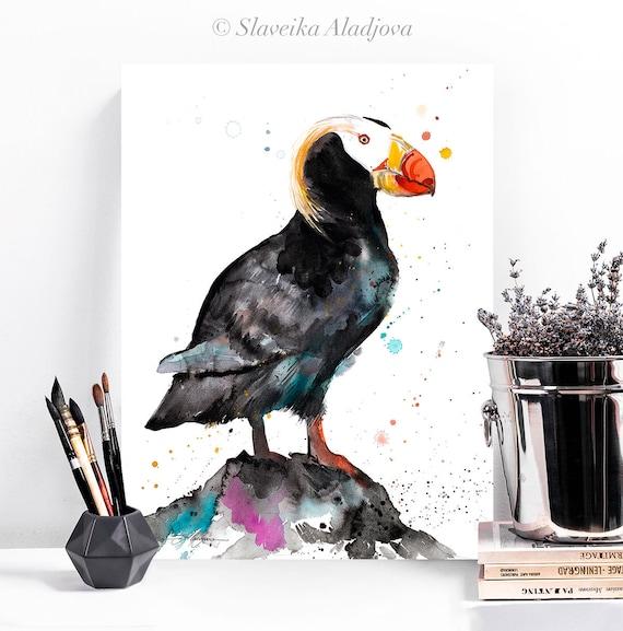Tufted puffin watercolor painting print by Slaveika Aladjova, art, animal, illustration, bird, home decor, wall art, gift, portrait,